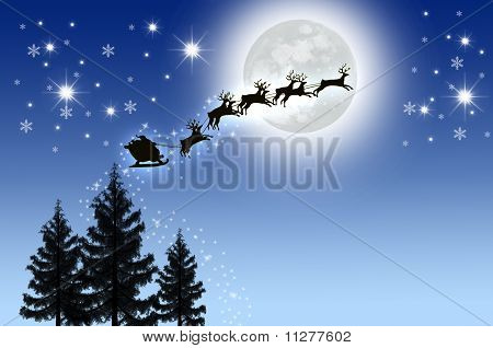 Santa is Sleigh In Night Sky With Moon