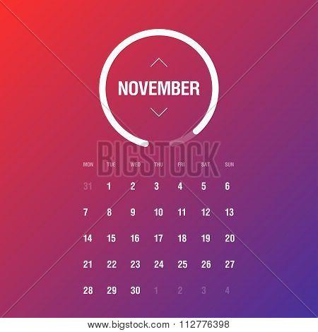 Calendar 2016. November. Week Starts Monday