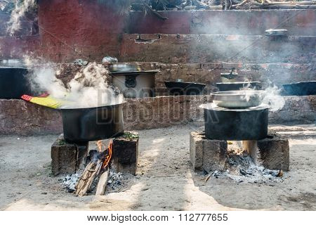 Roadside restaurant cooking on wood fire in Nepal