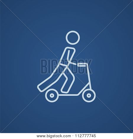 Man riding a kick scooter line icon for web, mobile and infographics. Vector light blue icon isolated on blue background.