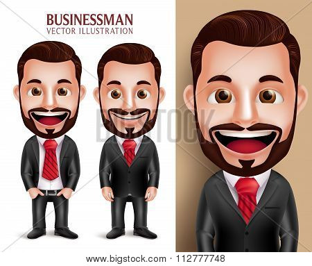 Business Man Vector Character Happy in Attractive Corporate Attire