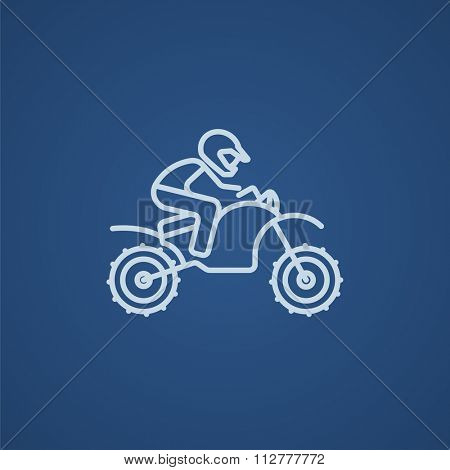Man riding a motocross bike line icon for web, mobile and infographics. Vector light blue icon isolated on blue background.