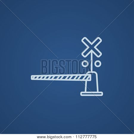 Railway barrier line icon for web, mobile and infographics. Vector light blue icon isolated on blue background.