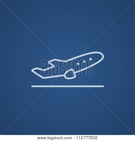 Plane taking off line icon for web, mobile and infographics. Vector light blue icon isolated on blue background.