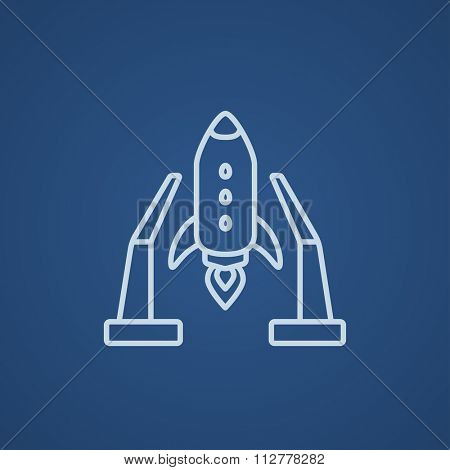 Space shuttle on a take-off area line icon for web, mobile and infographics. Vector light blue icon isolated on blue background.