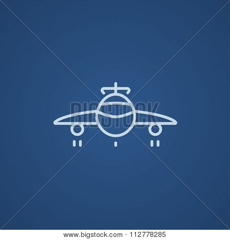Airplane line icon for web, mobile and infographics. Vector light blue icon isolated on blue background.
