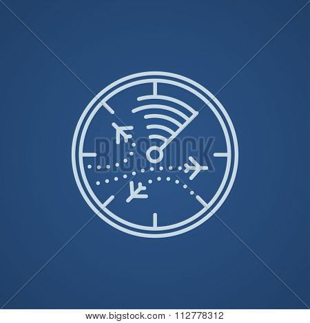Radar screen with planes line icon for web, mobile and infographics. Vector light blue icon isolated on blue background.