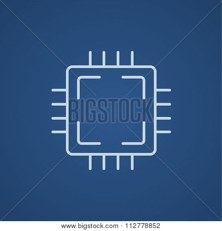 CPU line icon for web, mobile and infographics. Vector light blue icon isolated on blue background.
