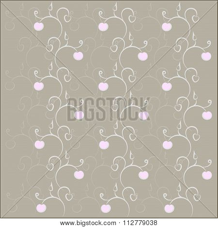 Seamless floral texture, hand drawing. Gray contours, curls, pink flowers
