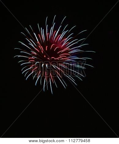 Colourful fireworks isolated in dark background close up with the place for text, Malta fireworks fe