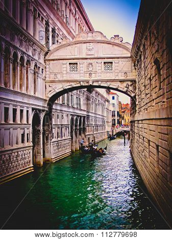 Bridge of Sighs in Vintage - Venice, Italy