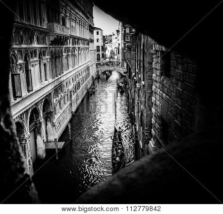 Last View of Light - Inside Bridge of Sighs Prison in Black and White - Venice, Italy