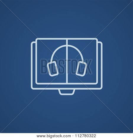 Audiobook line icon for web, mobile and infographics. Vector light blue icon isolated on blue background.