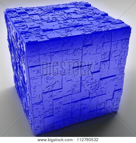 Mysterious Greeble Cube In Blue