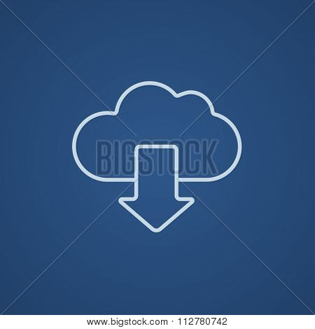 Cloud with arrow down line icon for web, mobile and infographics. Vector light blue icon isolated on blue background.