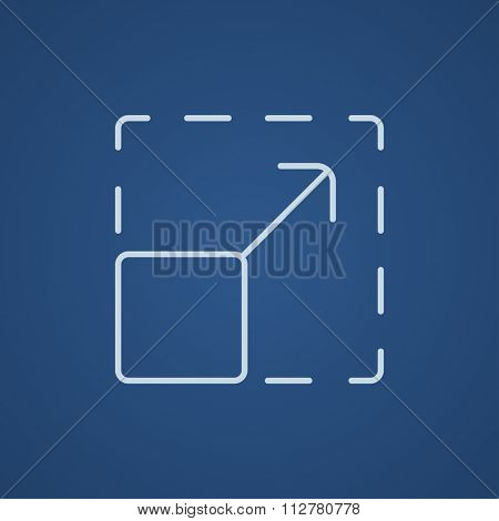Scalability line icon for web, mobile and infographics. Vector light blue icon isolated on blue background.