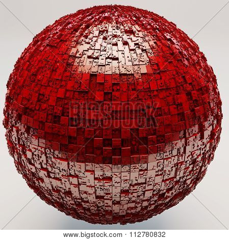Mysterious Greeble Sphere In Red