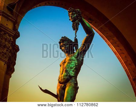 Cellini's Perseus With the Head of Medusa in Vintage - Florence, Italy