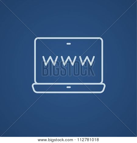 Website on the laptop screen line icon for web, mobile and infographics. Vector light blue icon isolated on blue background.