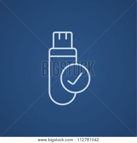 USB flash drive line icon for web, mobile and infographics. Vector light blue icon isolated on blue background.