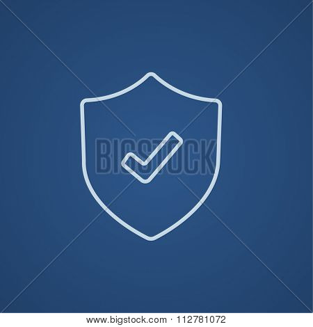 Shield with check mark line icon for web, mobile and infographics. Vector light blue icon isolated on blue background.