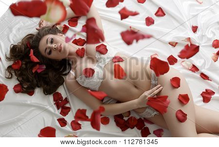 Sexy underwear model posing lying in rose petals