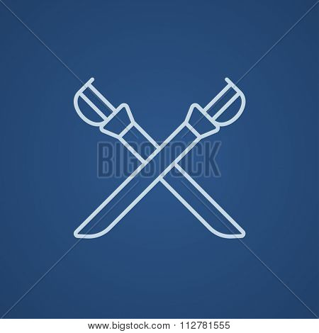 Crossed saber line icon for web, mobile and infographics. Vector light blue icon isolated on blue background.