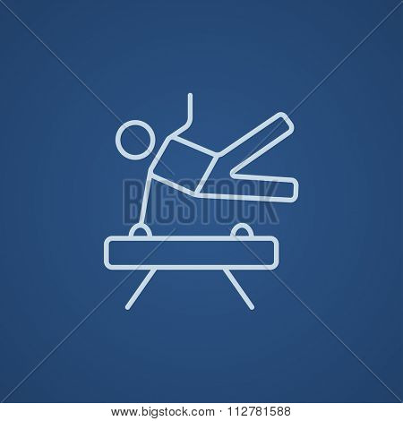 Gymnast exercising on the pommel horse line icon for web, mobile and infographics. Vector light blue icon isolated on blue background.
