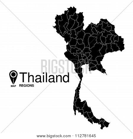 Regions Map Of Thailand. Thailand