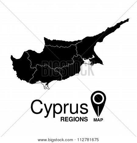 Regions Map Of Cyprus. Cyprus