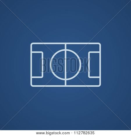Stadium layout line icon for web, mobile and infographics. Vector light blue icon isolated on blue background.