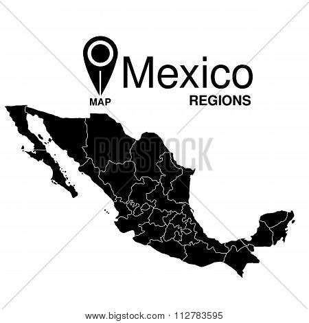 Regions Map Of Mexico. Mexico