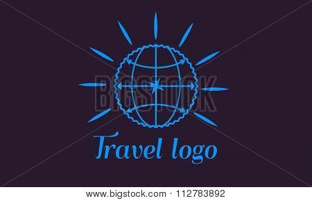 Travel vector corporate logo illustration with Globe. Vector design element.