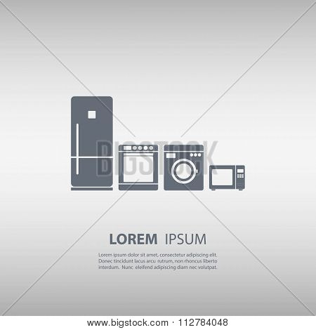 Refrigerator icon. Stove icon. Washing machine icon. Microwave icon.