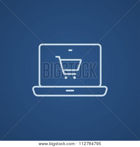 Laptop with a shopping cart on a screen line icon for web, mobile and infographics. Vector light blue icon isolated on blue background.