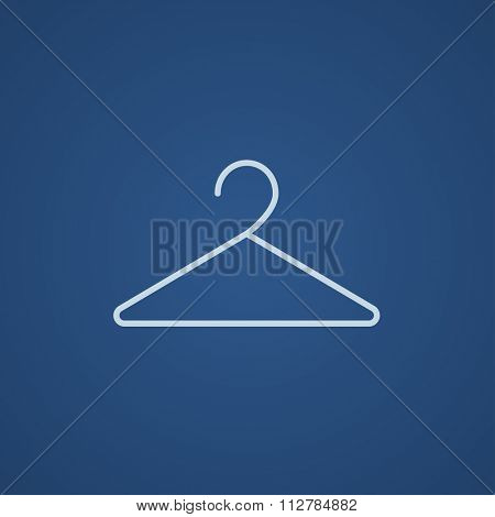 Hanger line icon for web, mobile and infographics. Vector light blue icon isolated on blue background.