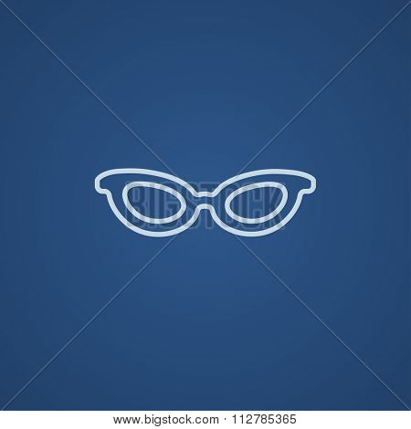 Eyeglasses line icon for web, mobile and infographics. Vector light blue icon isolated on blue background.
