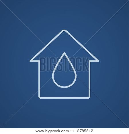 House with water drop line icon for web, mobile and infographics. Vector light blue icon isolated on blue background.