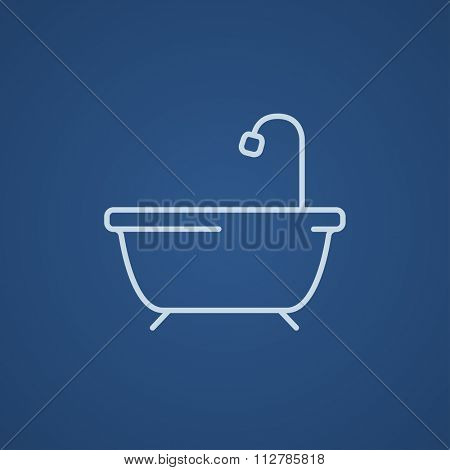 Bathtub with shower line icon for web, mobile and infographics. Vector light blue icon isolated on blue background.