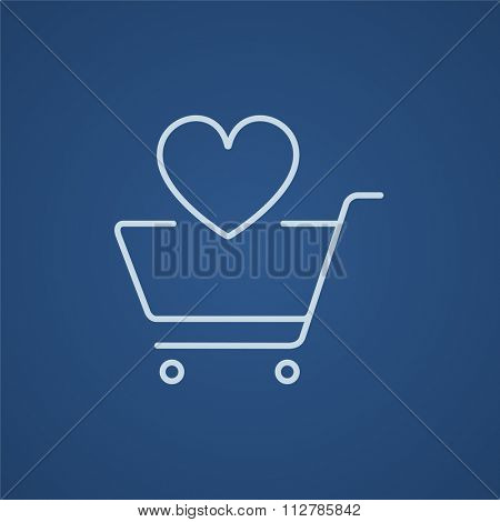 Shopping cart with heart shape line icon for web, mobile and infographics. Vector light blue icon isolated on blue background.