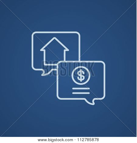 Real estate transaction line icon for web, mobile and infographics. Vector light blue icon isolated on blue background.