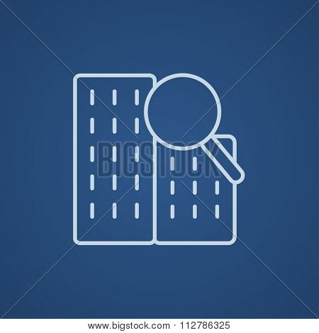 Condominium and magnifying glass line icon for web, mobile and infographics. Vector light blue icon isolated on blue background.