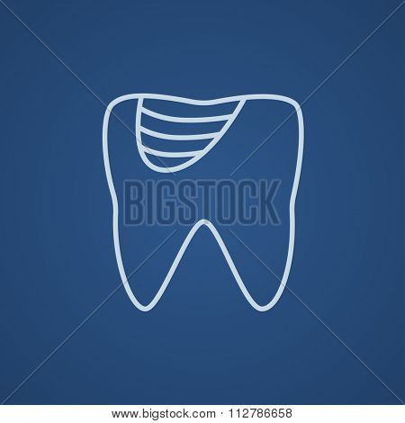 Tooth decay line icon for web, mobile and infographics. Vector light blue icon isolated on blue background.