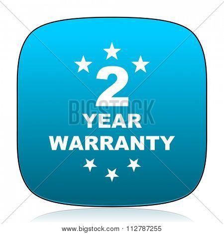 warranty guarantee 2 year blue icon