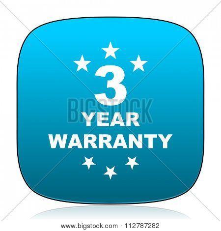 warranty guarantee 3 year blue icon