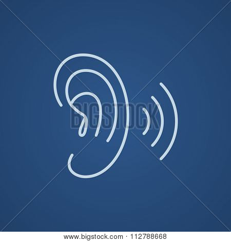 Human ear line icon for web, mobile and infographics. Vector light blue icon isolated on blue background.