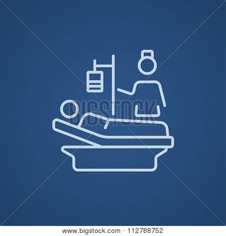 Nurse attending a patient lying on the bed line icon for web, mobile and infographics. Vector light blue icon isolated on blue background.
