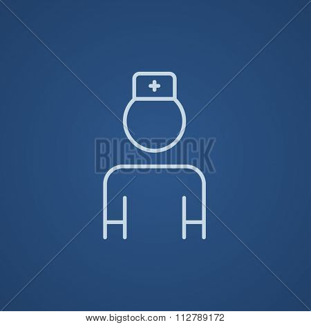 Nurse line icon for web, mobile and infographics. Vector light blue icon isolated on blue background.