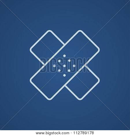 Adhesive bandages line icon for web, mobile and infographics. Vector light blue icon isolated on blue background.