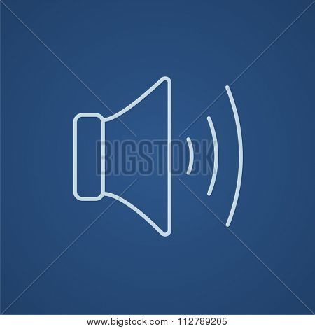 Speaker volume line icon for web, mobile and infographics. Vector light blue icon isolated on blue background.